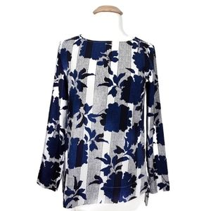 Ann Taylor | Navy White Geo Floral Blouse S